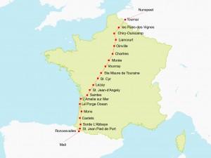 Route Frankrijk.