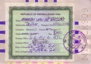 Paspoort visum Sierra Leone
