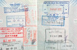 Visum stempel paspoort Gambia en Senegal