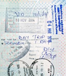Visum stempel paspoort Zambia