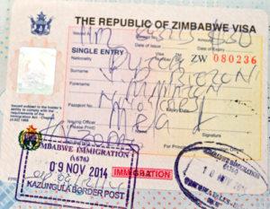 Visum paspoort Zimbabwe