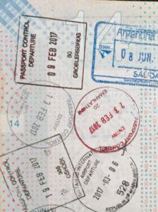 Visum stempel paspoort Zuid Afrika